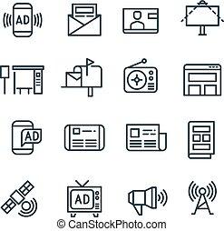 iconerne, medier, kanaler, vektor, reklame., internet, reklame, annoncere