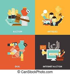 iconerne, sæt, auktion, deal