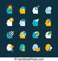 iconerne, sæt formgiv, lejlighed, begreb