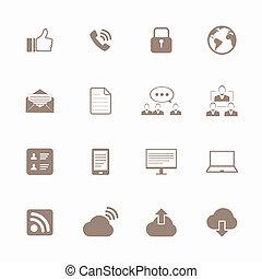 iconerne, sæt, internet