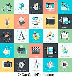 iconerne, sæt, lejlighed, konstruktion