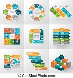 iconerne, sæt, skabeloner, infographic
