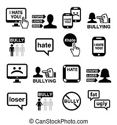 iconerne, sæt, vektor, cyberbullying