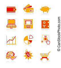 iconerne, series, saftige, substanser, penge, |