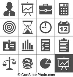 icones affaires, ensemble, -, simplus, série