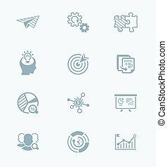 icones affaires, série, ||, démarrage, technologie