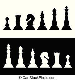 icones affaires, set., morceaux, silhouettes, vecteur, noir, échecs, stratégie