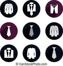 icones affaires, set., vecteur, homme, vêtements