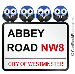 Iconic Abbey Road street name sign with sixties bird band...