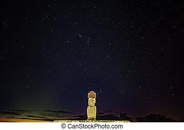 Iconic Ahu Ko Te Riku moai with eyes in Rapa Nui at night -...