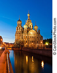 Iconic, colorful and beautiful church of the Savior on blood at night, St Petersburg, Russia