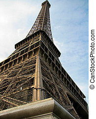 Iconic Eiffel Tower (1889) symbol of Paris with clear blue...