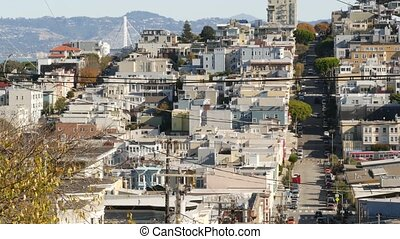 Iconic hilly street and crossroads in San Francisco, ...