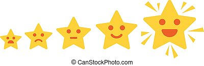 Iconic illustration of satisfaction level. Customer review give a five star. Positive feedback concept. Minimal flat design. Vector illustration. Isolated on white background