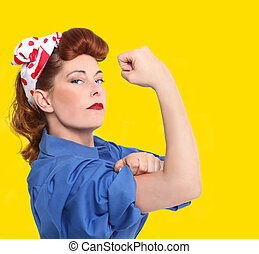 iconic, imagen, de, un, hembra, trabajador fábrica, de, el,...