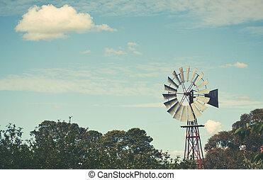 Iconic old Australian windmill background