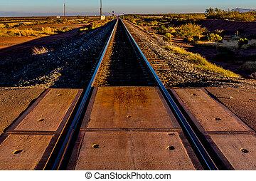 Iconic Railroad Tracks in Desert - Iconic Railroad Tracks...
