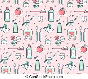 Iconic seamless Pattern about dentistry