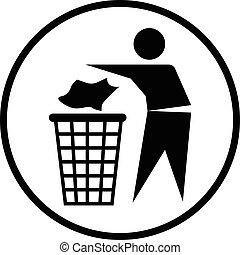 iconique, déchets ménagers, jeter, dehors, icon-vector