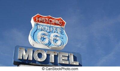 iconique, route, repère, néon, parcours, symbole, logement, ...