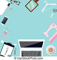 iconlaptop, mode, sommet, couture, objet, machine, tailleur, table, concepteur, fabricant, vêtements
