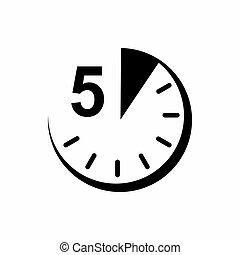 icono, 5, estilo, minutos, simple