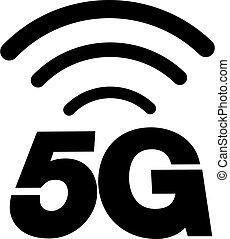 icono, 5g, o, símbolo