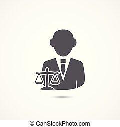 icono, abogado, blanco