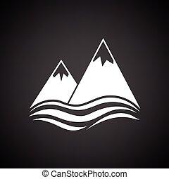 icono, acantilado, picos, mar, nieve