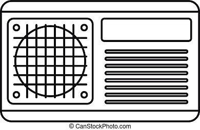 icono, acondicionador, estilo, ventilador, contorno