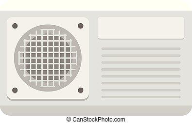 icono, acondicionador, estilo, ventilador, plano