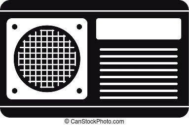 icono, acondicionador, estilo, ventilador, simple