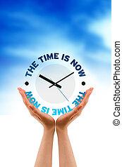 icono, ahora, tiempo, llevar a cabo la mano