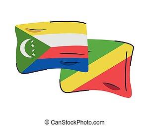 icono, aislado, banderas, comoros, congo, países