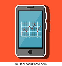 icono, aislado, smartphone, diseño, estadística