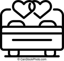 icono, amor, contorno, estilo, pareja, noche, boda
