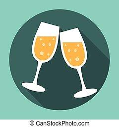 icono, anteojos de champán