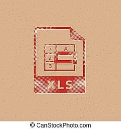 icono, -, archivo, halftone, hoja de cálculo