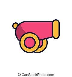 icono, arma, relleno, estilo, cañón