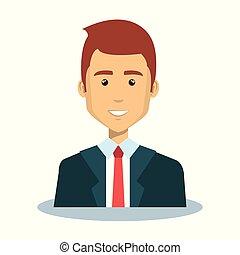 icono, avatar, hombre de negocios, carácter