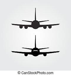 icono, avión, o, avión