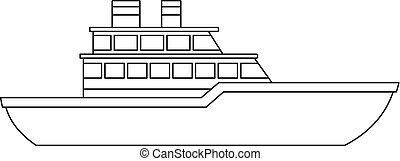 icono, barco militar, contorno, style.