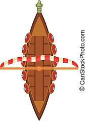 icono, barco militar, estilo, caricatura