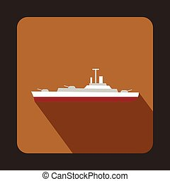 icono, barco militar, estilo, plano