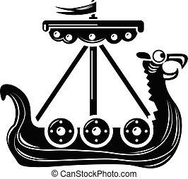 icono, barco militar, estilo, simple