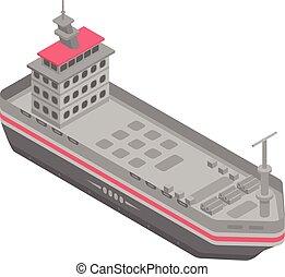 icono, barco militar, isométrico, estilo