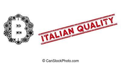 icono, bitcoin, contagioso, calidad, italiano, collage,...