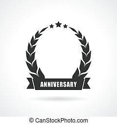 icono, blanco, aniversario