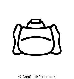 icono, bolsa, deportes, holgado, contorno, vector, ilustración