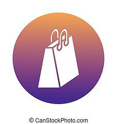 icono, bolsa, papel, compras, bloque
